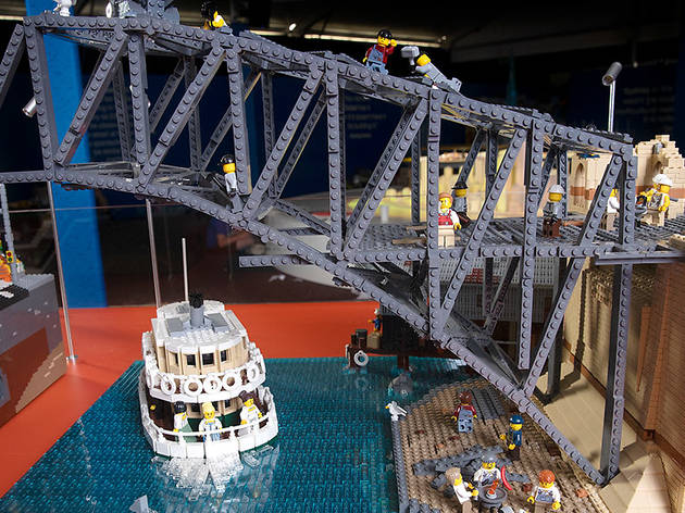 children playing with lego at Brickman: Cities exhibition