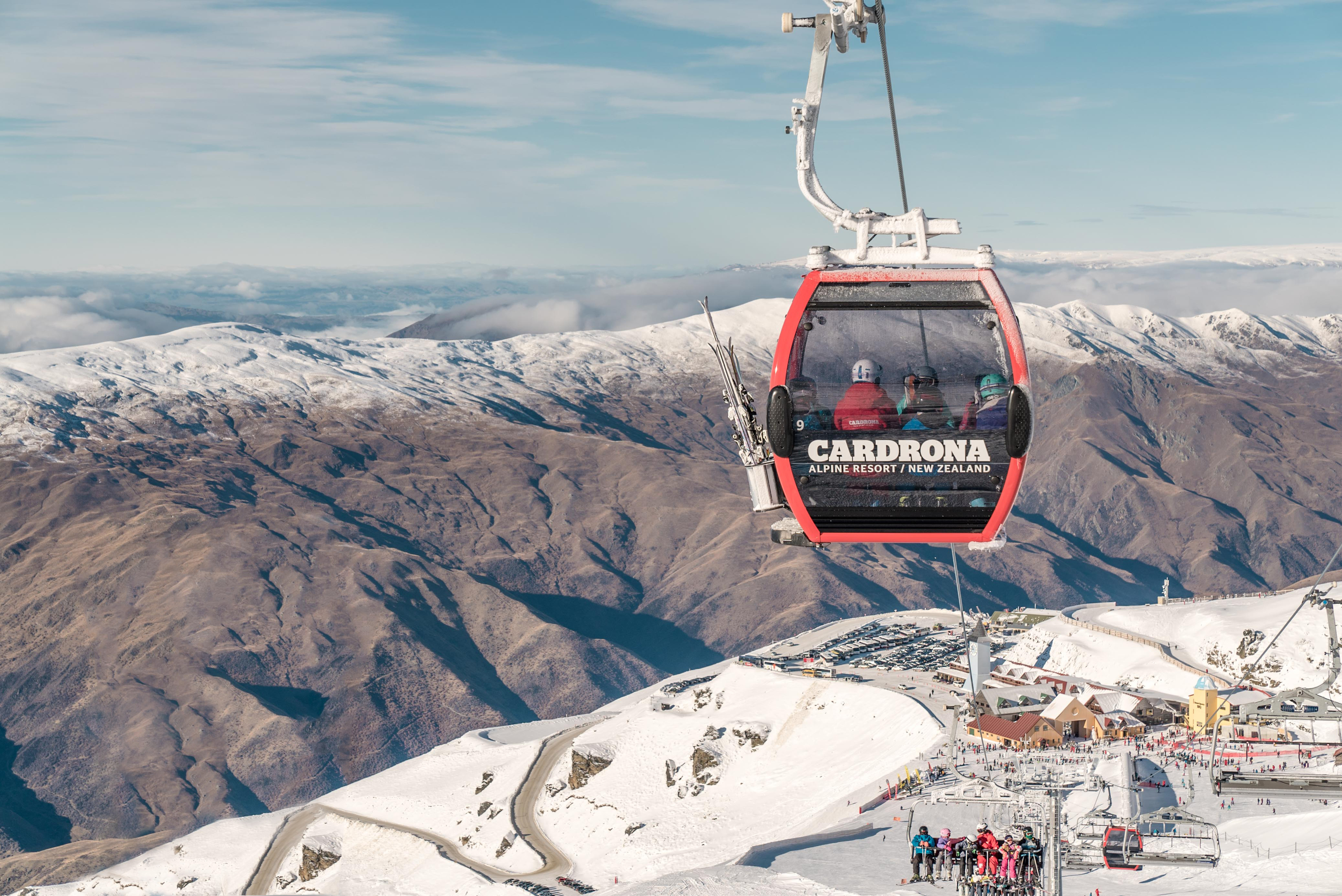 An enclosed chondola goes up the mountain at Cardrona Resort