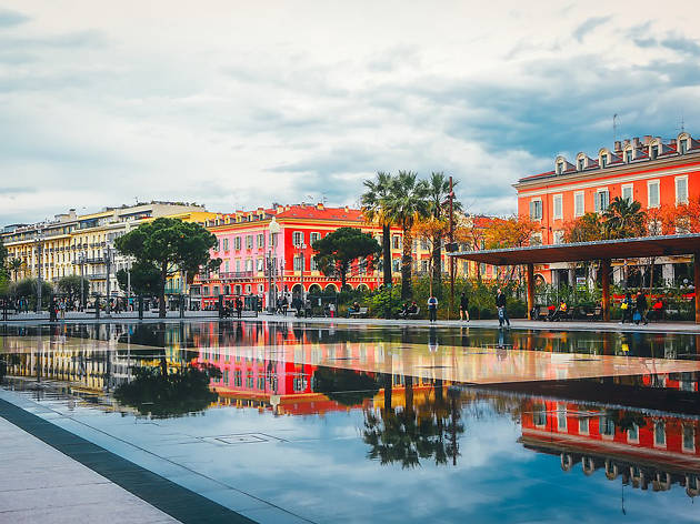Reflections in the canal in Nice city centre