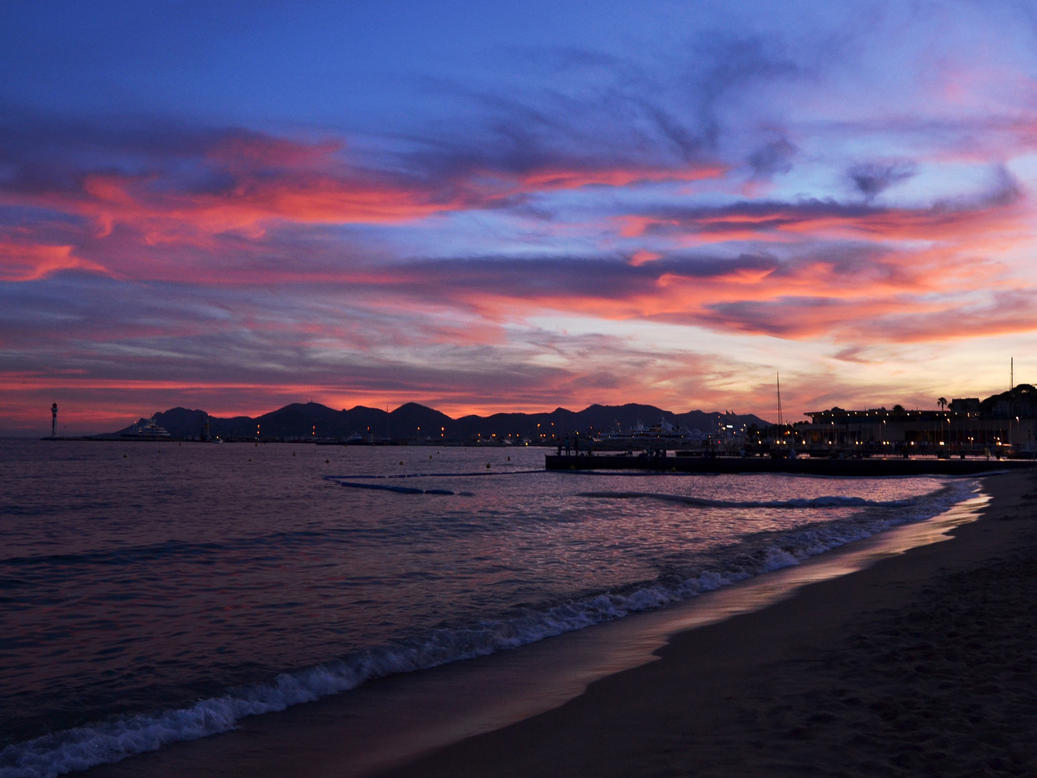 A sunset over the beach at Cannes in France