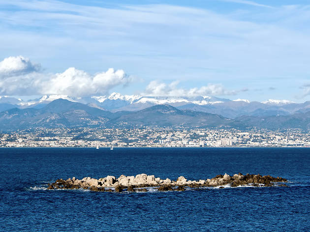 Antibes seen from the water in winter