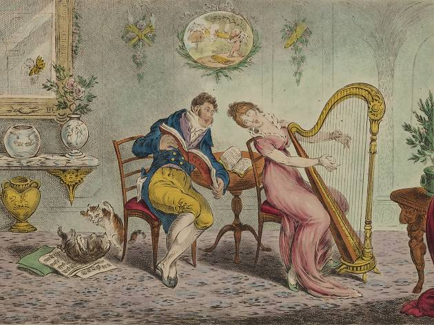 A painting of people playing the harp and reading sheet music in the 19th century. Exhibited in the Songs of Home exhibition at Museum of Sydney.