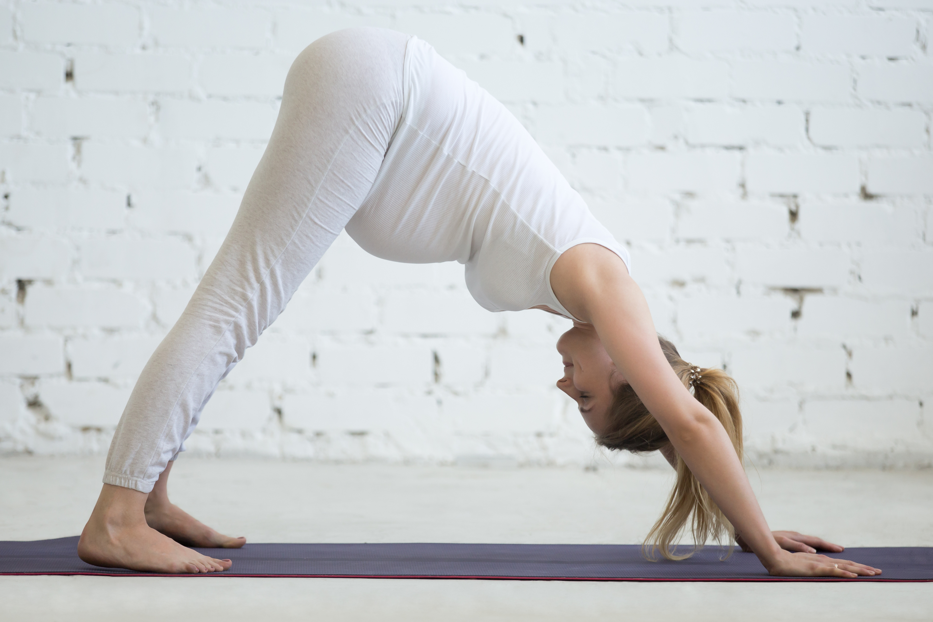 Pregnant Young Woman Doing Prenatal Downward Facing Dog Pose