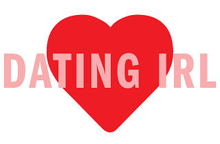 Red heart with the words 'Dating IRL' written over it