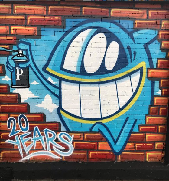 Pez, graffiti art, Smiling with Friends, Pez 20th anniversary