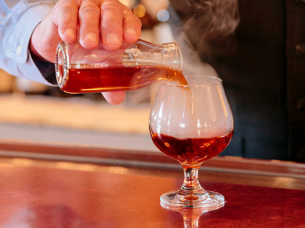 Smoked Chai Manhattan at Oak Long Bar