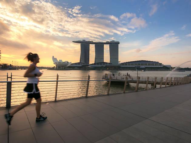 running, singapore, marina bay