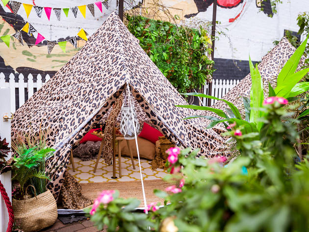 Leopard print tent at the Wickham Hotel for jungle themed event.