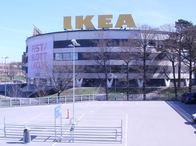 The exterior of the world's second largest IKEA in Stockholm