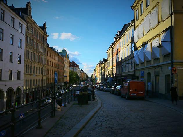 Looking down Hornsgatan street in Stockholm