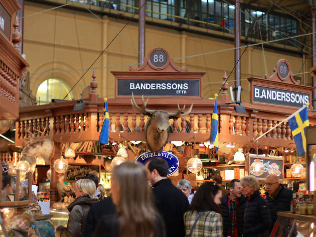 Food stalls at the Ostermalms saluhall food hall in Stockholm