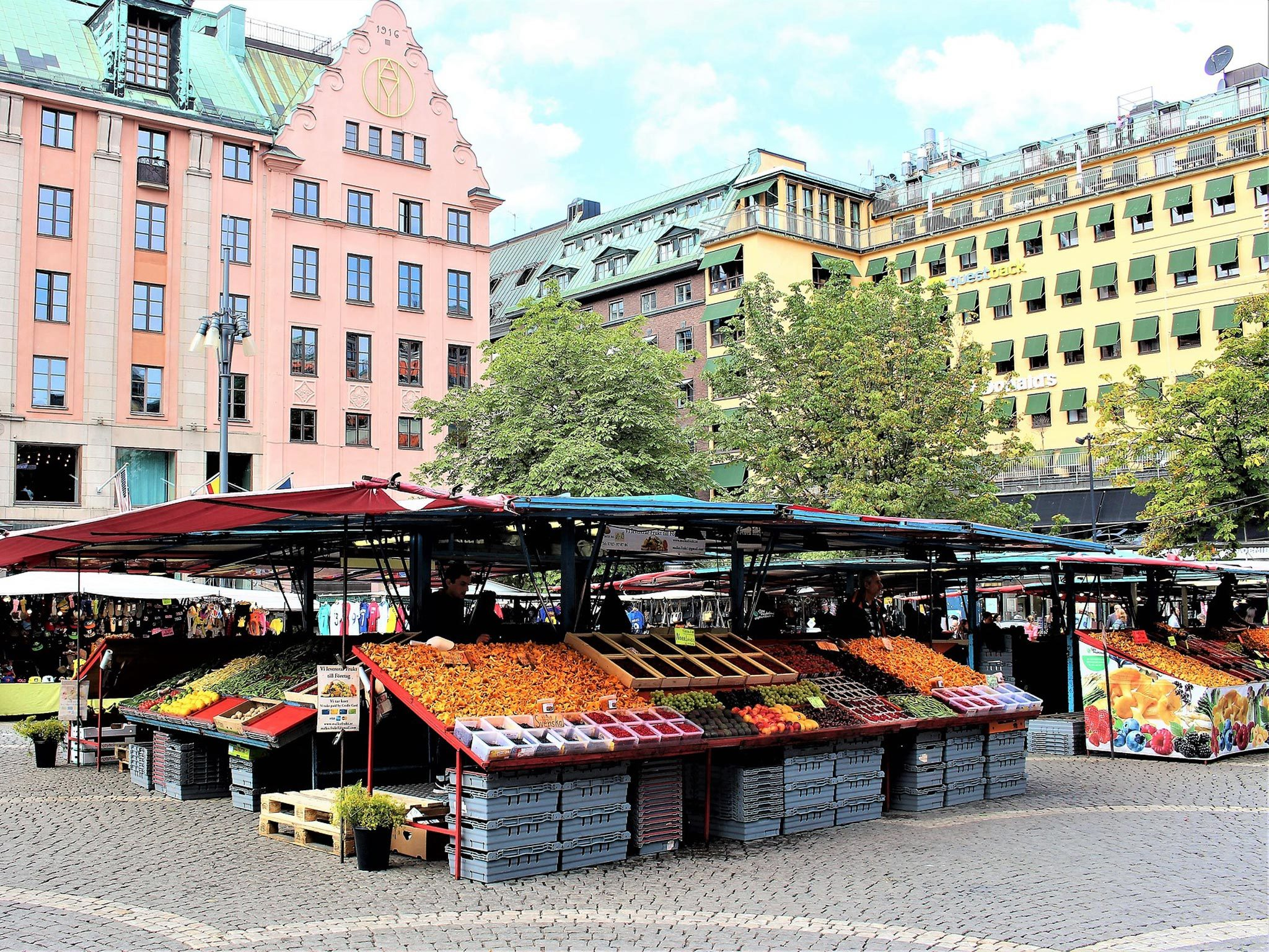 Stalls at Hotorget square flea market in Stockholm