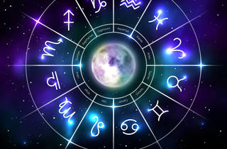 Mystic zodiac wheel with star signs in neon style