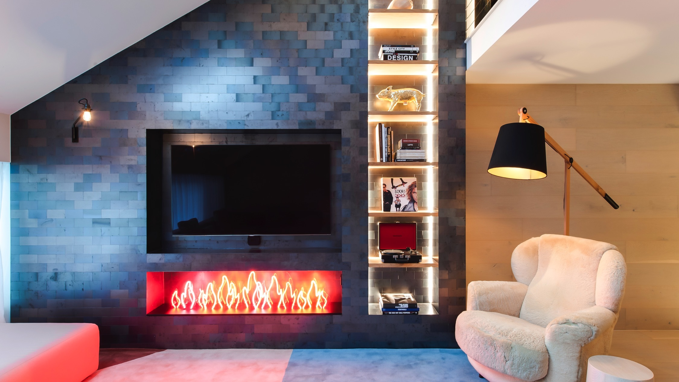 Fire place at Ovolo Sydney