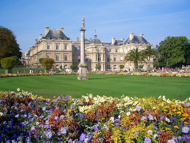 The Palais du Luxembourg seen from the gardens of the Jardin du Luxembourg