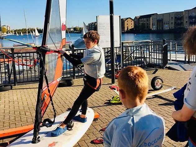 Docklands windsurfing session - watersports for kids in London