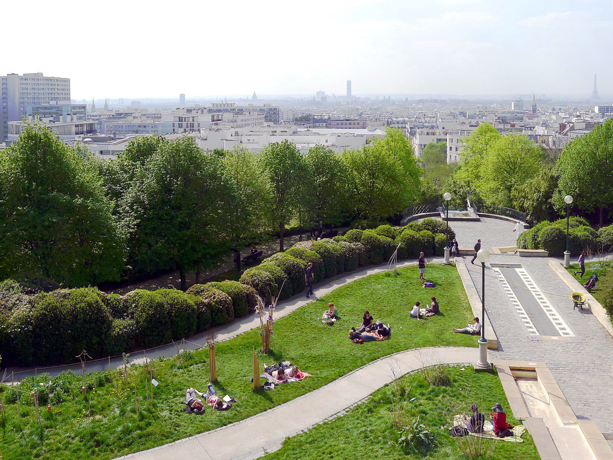 The panorama over Paris from the top of the Parc de Belleville