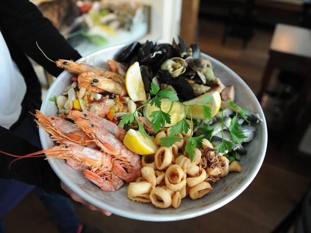 A plate of seafood at Pescheria restaurant in Munich