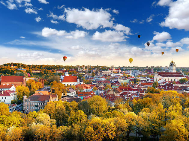 Views over Vilnius (with hot air balloons) in Lithuania