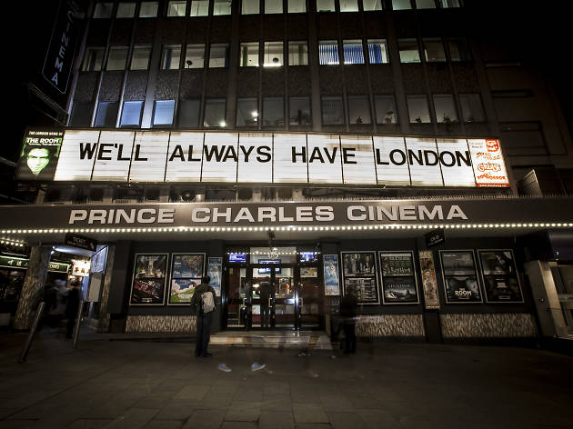 A picture of the exterior of the Prince Charles Cinema in Leicester Square