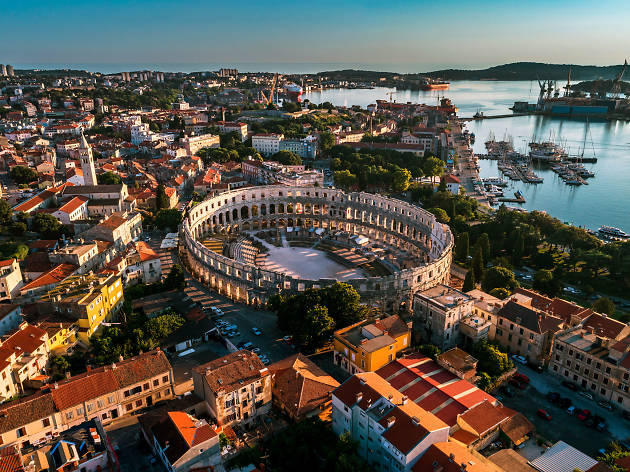 A view of the amphitheatre in Pula in Istria