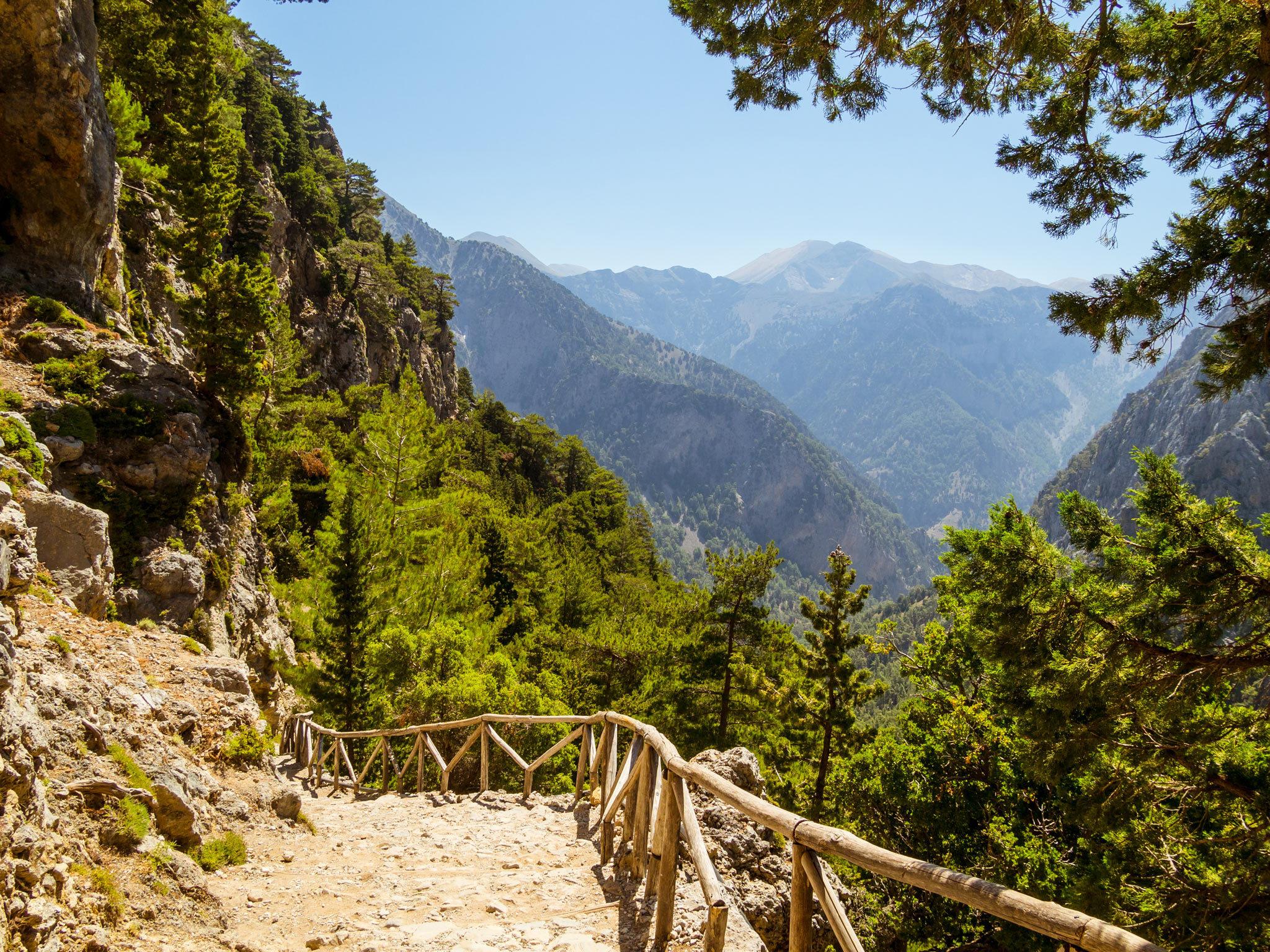 A walking trail in Samaría Gorge in Crete