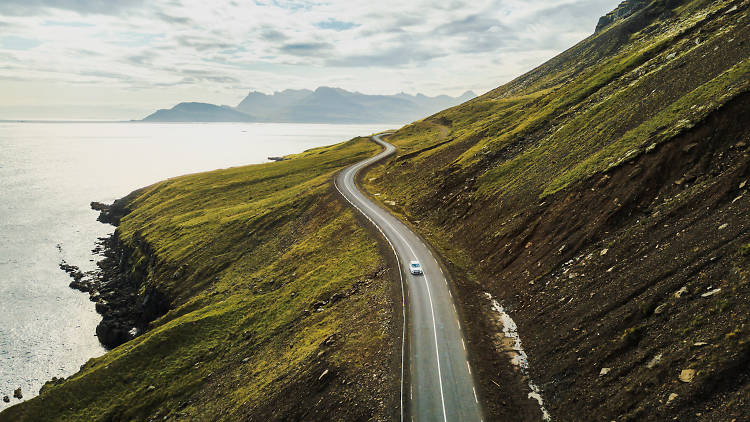 A view over a coastal road in Iceland