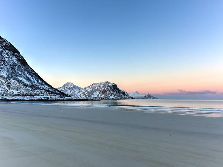 Platja de Haukland, Lofoten, Noruega
