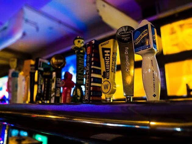 Beer taps at bar