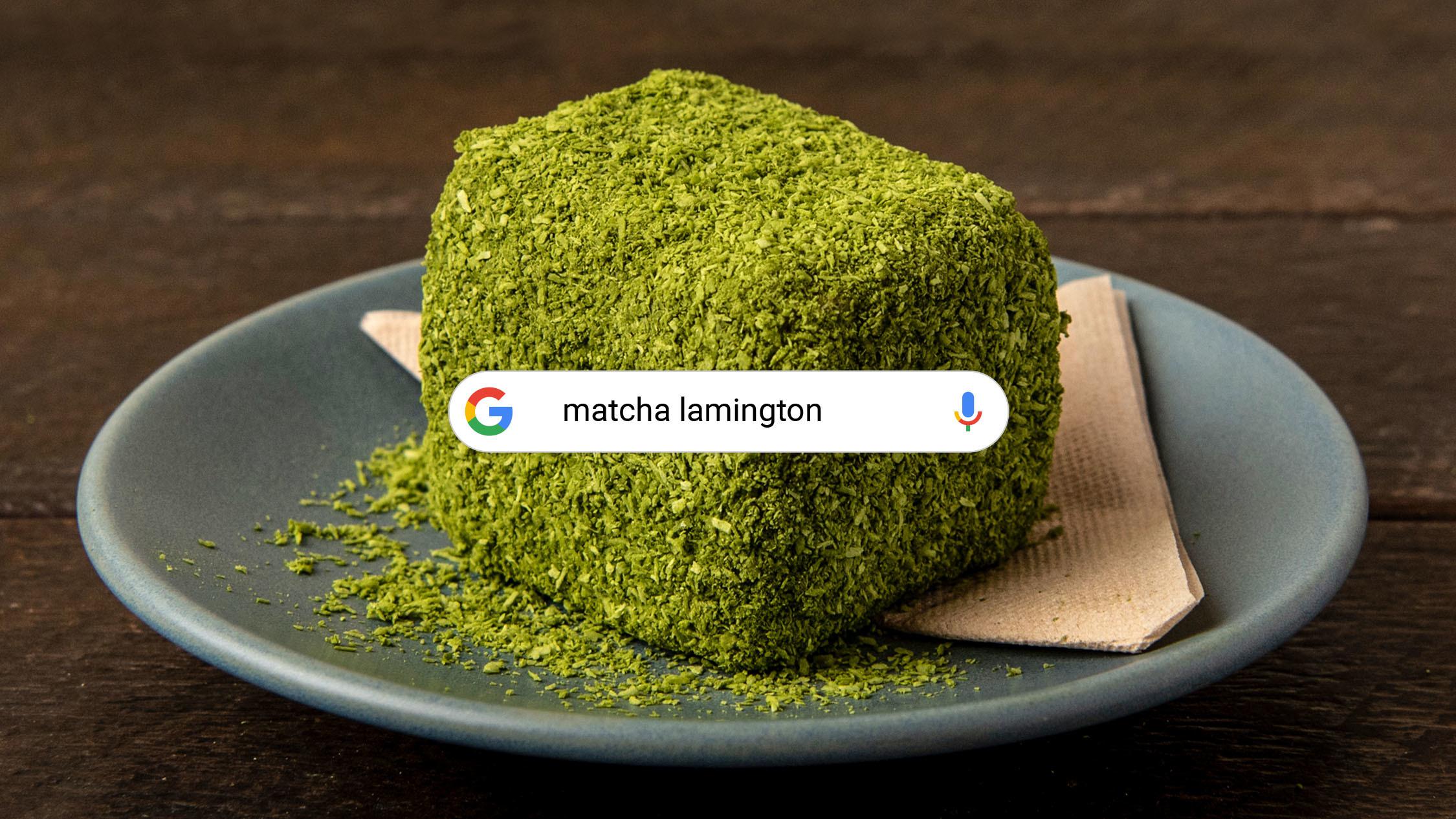 Matcha Lamington at Café Oratnek