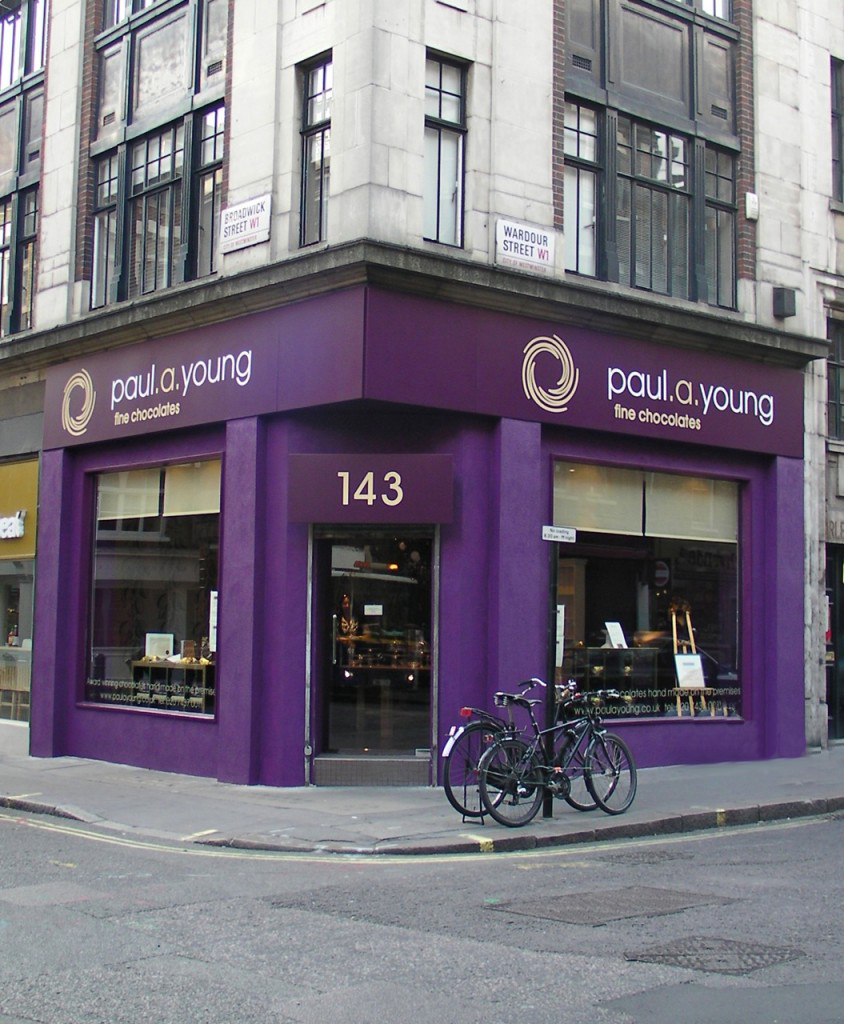 Paul A Young chocolate shop in Soho