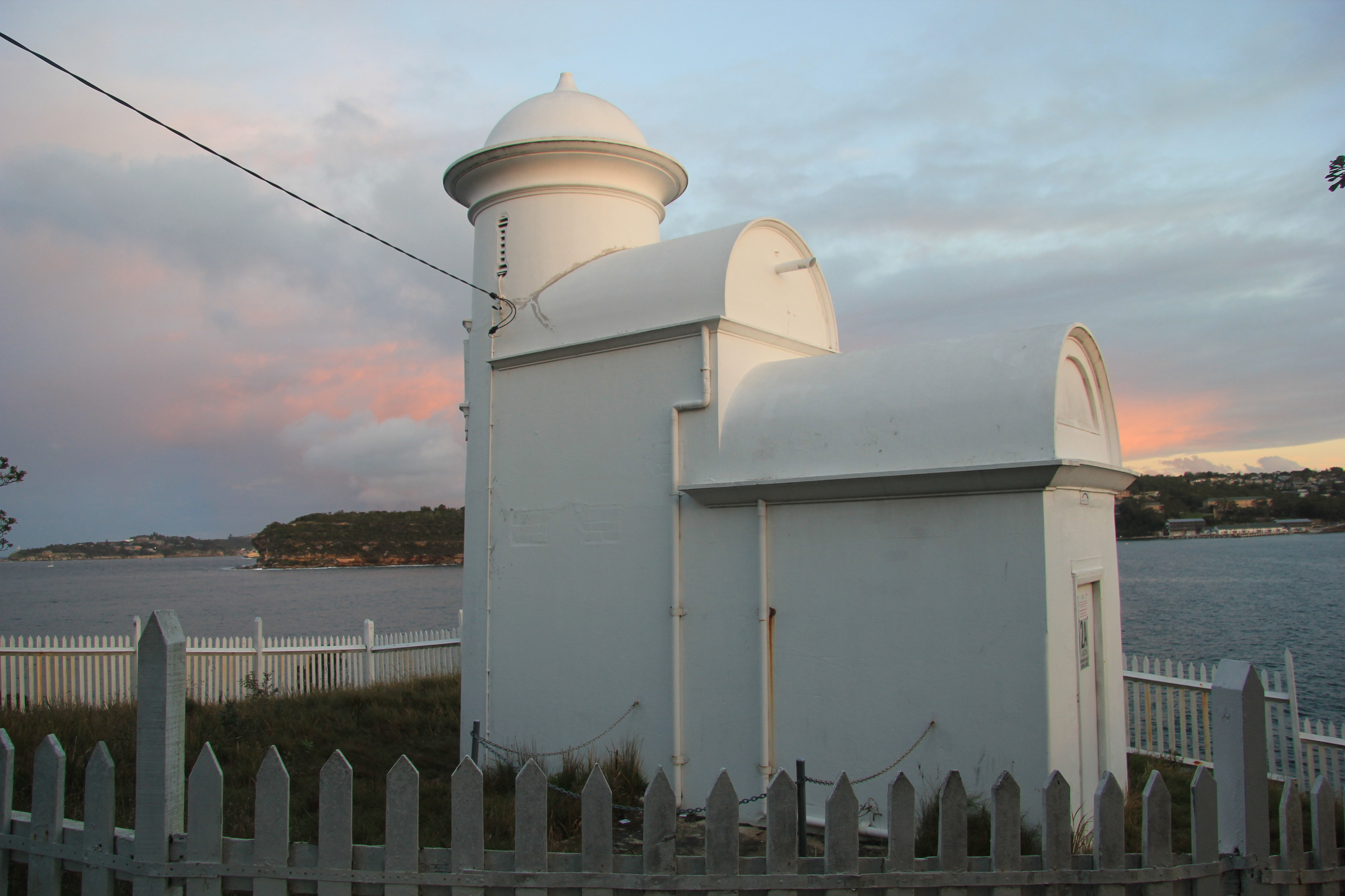 The Grotto Point Lighthouse at sunset.