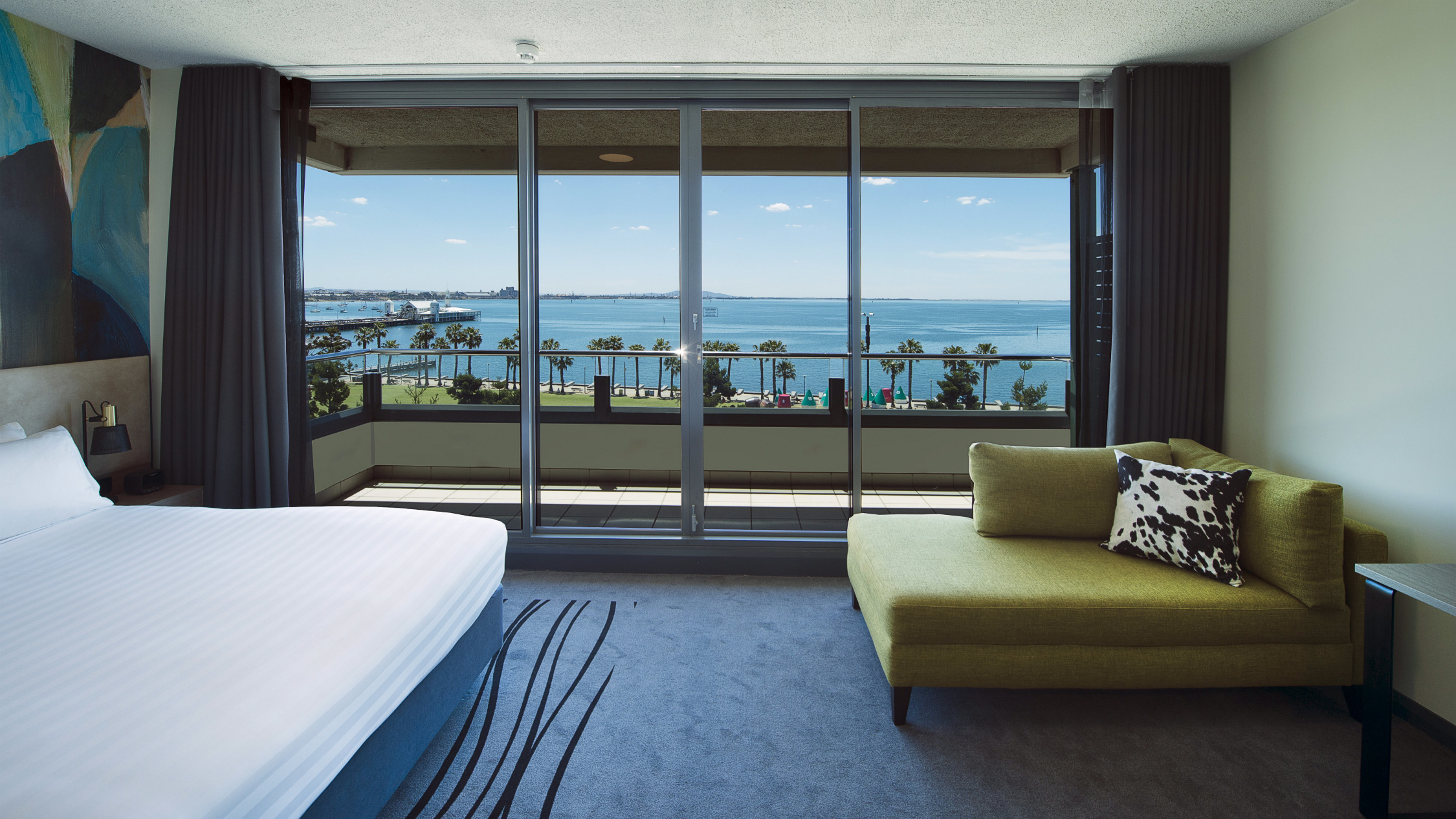 Interior of hotel room, with an ocean view