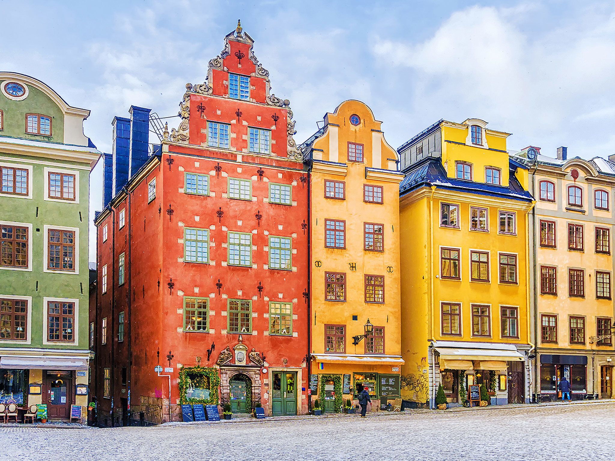 Colourful townhouses on a Stockholm street