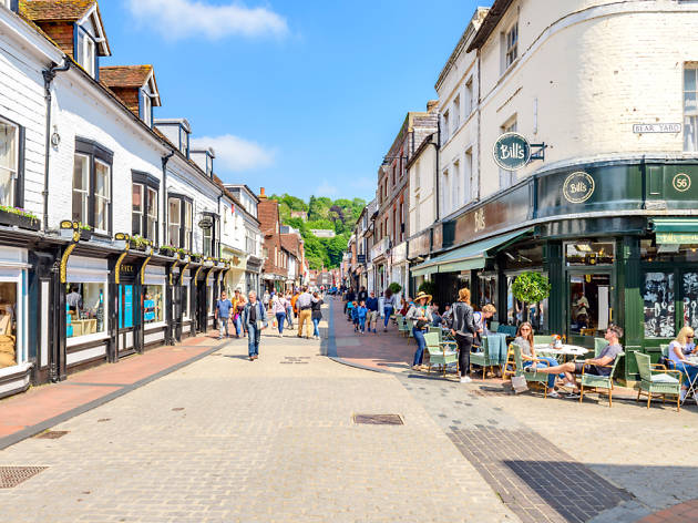 High street in Lewes, UK