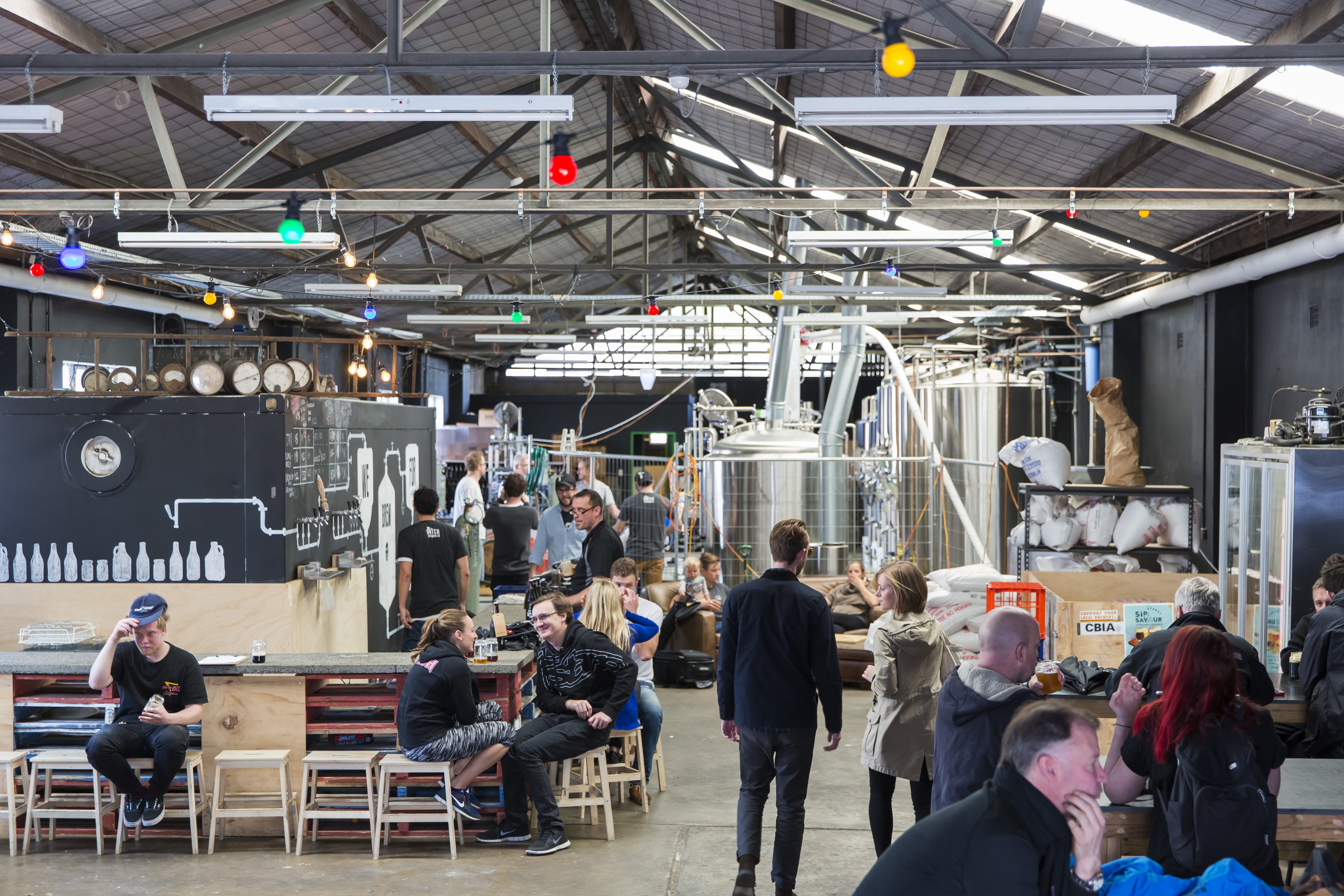 People drinking and socialising at Batch Brewing in Marrickville