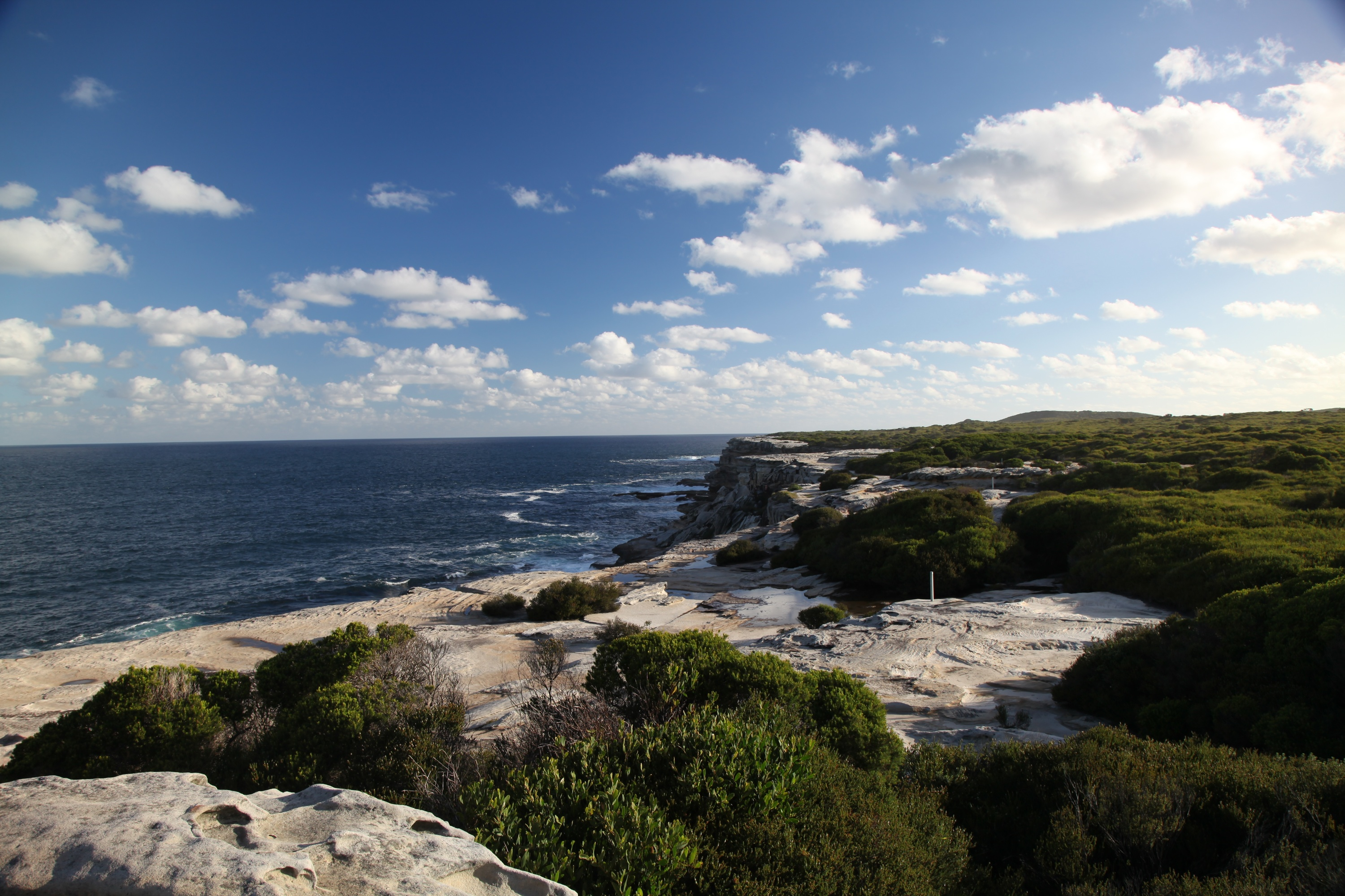 Spectacular coastal view of prime whale watching location at Cape Solander, Kurnell, in Kamay Botany Bay National Park.
