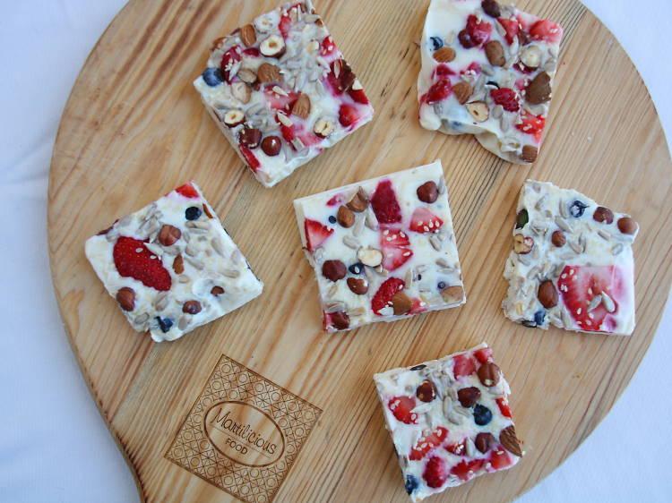 Receita de barra de iogurte e frutos vermelhos