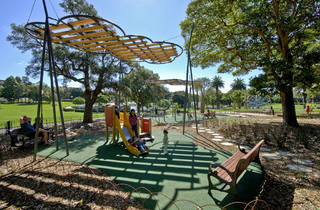 Children playing on the playground at Victoria Park
