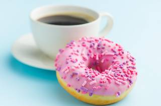 Mirvac pink donut and coffee