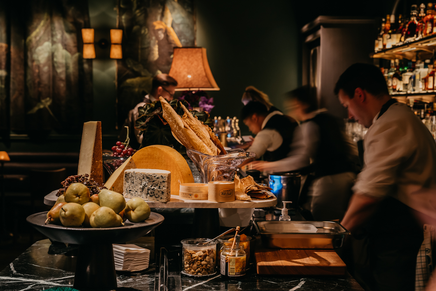 Cheeses on the bar at Little Felix