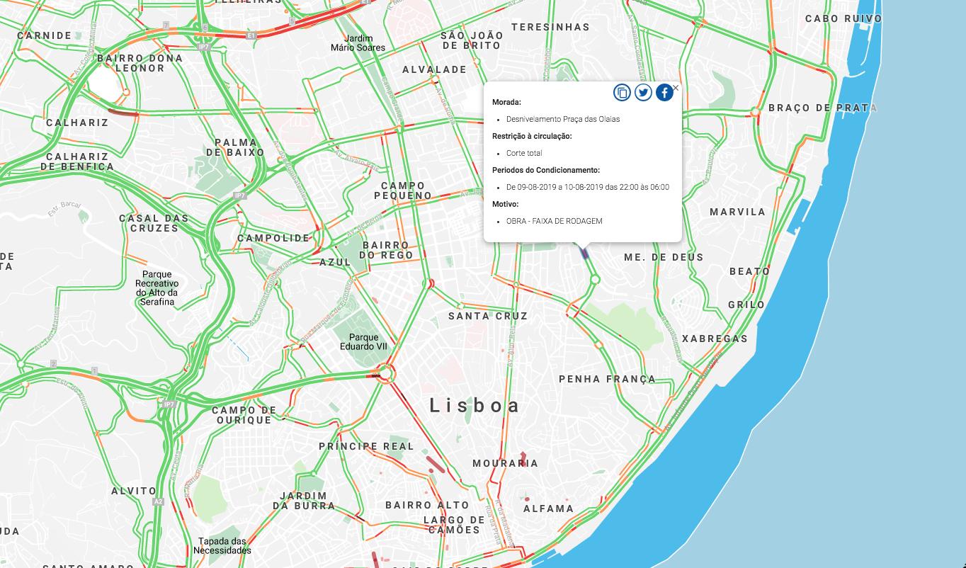 condicionamentos ao trânsito em Lisboa