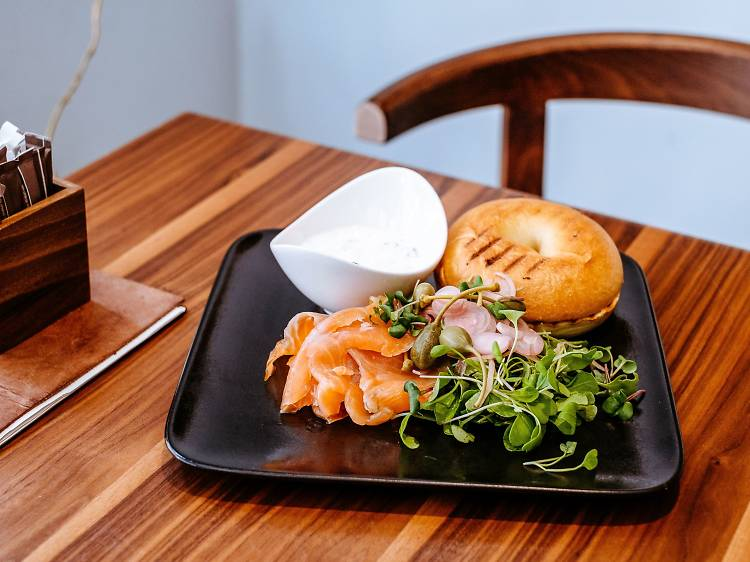 Bagels with salmon gravlax, cream cheese and capers