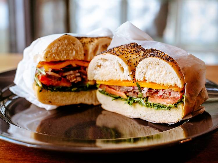 Grilled roast beef bagel sandwich at Bagel and Lobster Barr