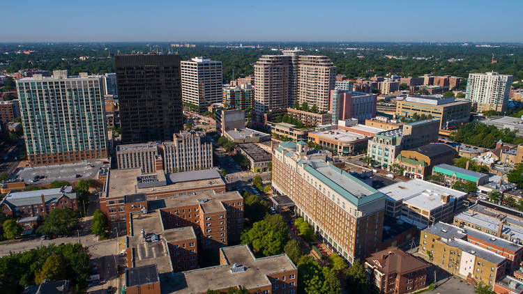 An aerial view of Evanston