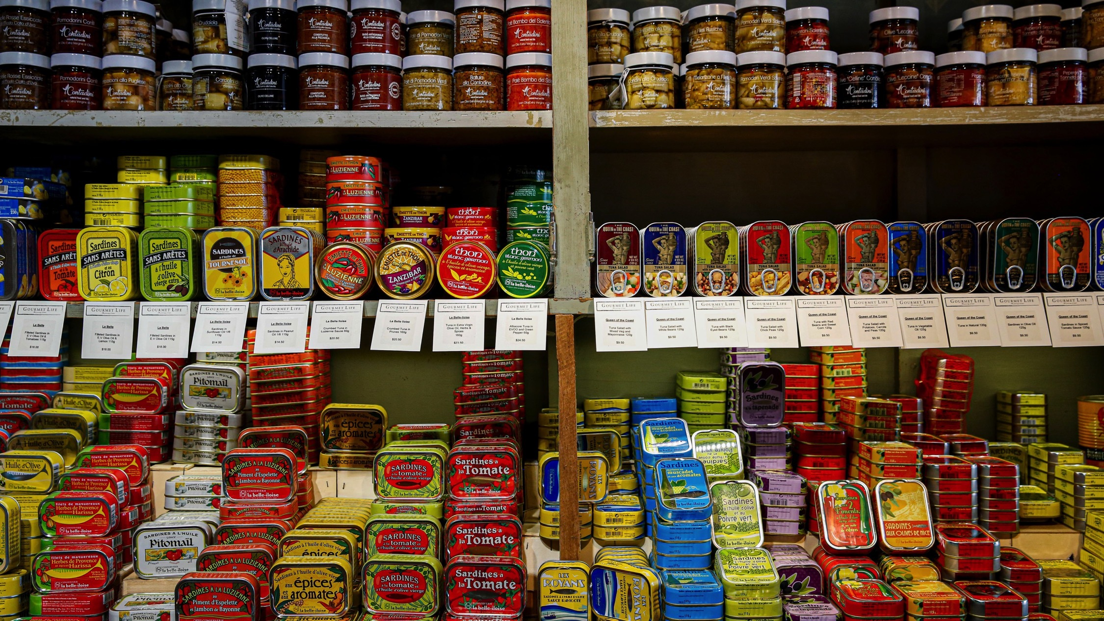 Tins of food at Gourmet Life Deli