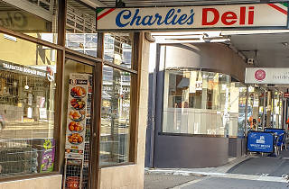 The exterior and signage of Charlie's Deli in Petersham