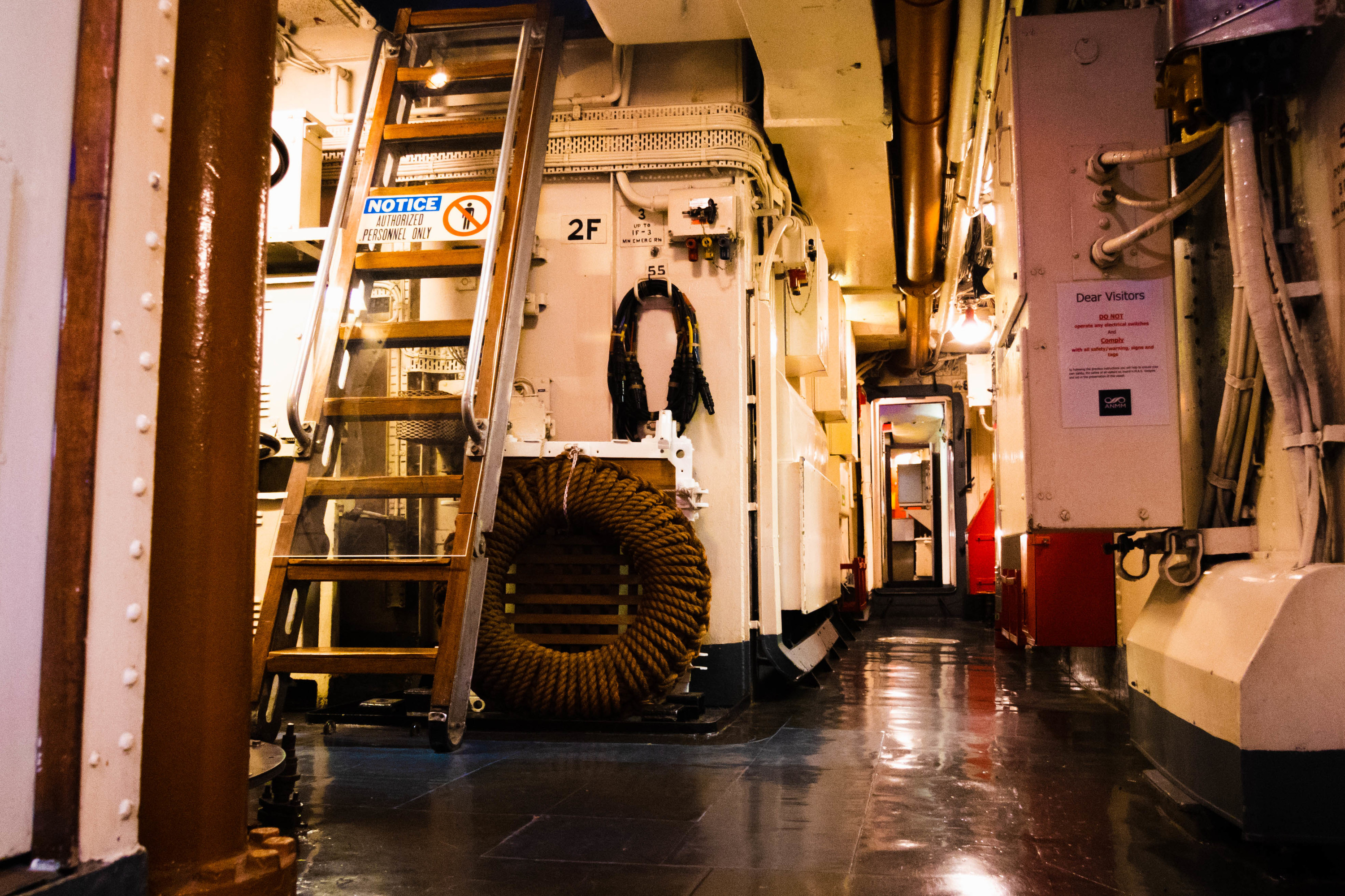 Inside the Navy Destroyer HMAS Vampire at the Australian National Maritime Museum.