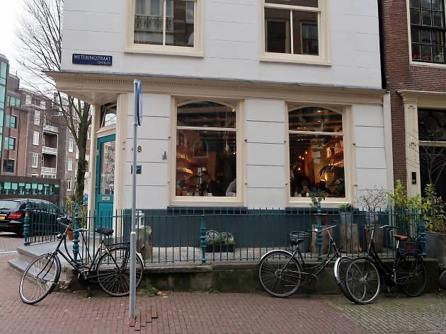 The exterior of Back to Black café in Amsterdam