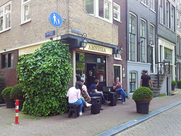The exterior of Amnesia coffeeshop in Amsterdam
